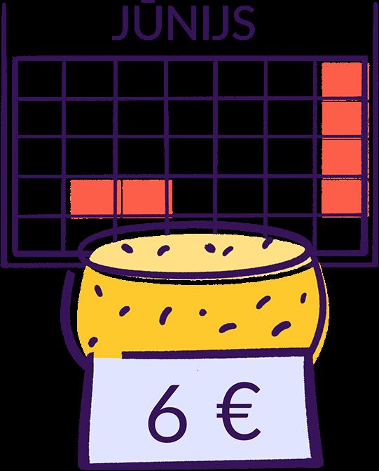 Ilustratīvs attēls. Kalendārā atvērts jūnija mēnesis, kurā atzīmēti Līgo svētki un Jāņi. Blakus siers ar piestiprinātu cenu 6 eiro.